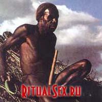 Футляр для пениса у мужчины из племени дани в Ириан - Джайе (о.Новая Гвинея)